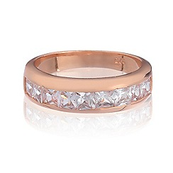 Simply Silver - Sterling silver rose gold plated channel set ring