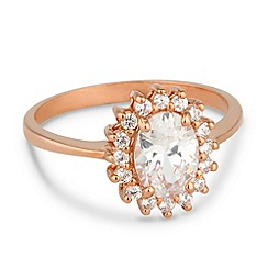 Simply Silver - Cubic zirconia and rose gold kate style ring