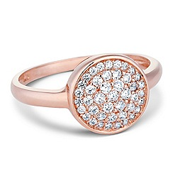 Simply Silver - Rose gold pave crystal disc ring