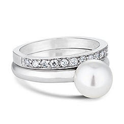 Simply Silver - Sterling silver pearl engagement ring set