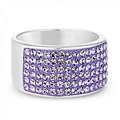 Simply Silver - Sterling silver wide pave crystal ring