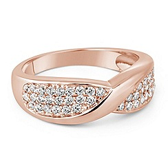 Simply Silver - Sterling silver rose gold micro pave twist ring