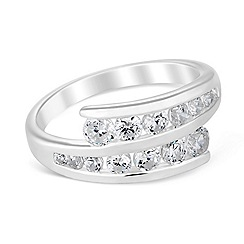 Simply Silver - Sterling silver cubic zirconia bypass ring