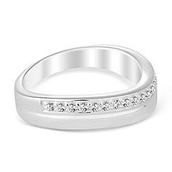 Simply Silver - Sterling silver curve cubic zirconia ring