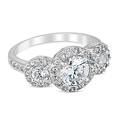 Simply Silver - Sterling silver cubic zirconia trilogy ring