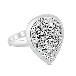 Simply Silver - Sterling silver pave crystal teardrop ring