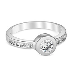 Simply Silver - Sterling silver bezel cubic zirconia ring