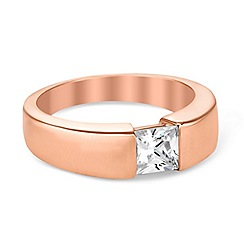 Simply Silver - Sterling silver rose gold square cubic zirconia ring