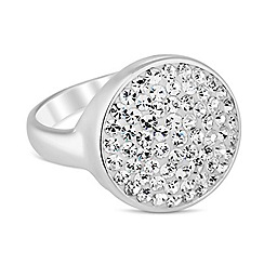 Simply Silver - Sterling silver pave crystal circle ring