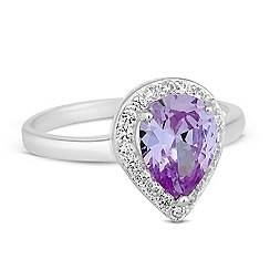 Simply Silver - Sterling silver purple cubic zirconia peardrop ring