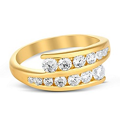 Simply Silver - Graduated gold cubic zirconia double panel ring