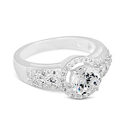 Simply Silver - Sterling silver cubic zirconia surround ring