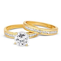 Simply Silver - Gold cubic zirconia engagement ring set