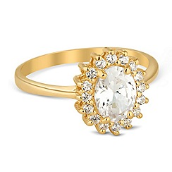Simply Silver - Kate cubic zirconia gold engagement ring