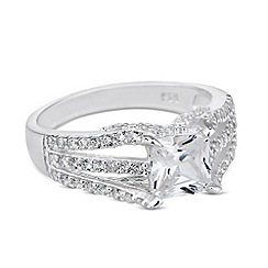 Simply Silver - Sterling silver square cubic zirconia triple band ring