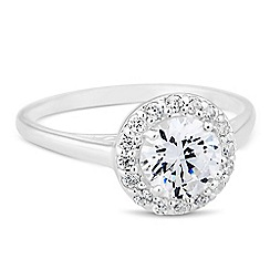 Simply Silver - Sterling silver round cubic zirconia Clara ring