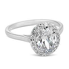 Simply Silver - Sterling silver cubic zirconia oval Clara ring