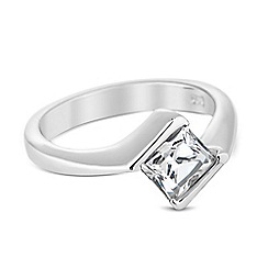 Simply Silver - Sterling silver cubic zirconia square set ring