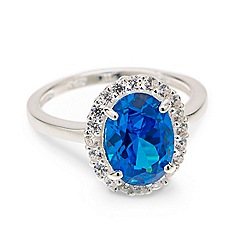 Simply Silver - Sterling silver blue oval cubic zirconia ring