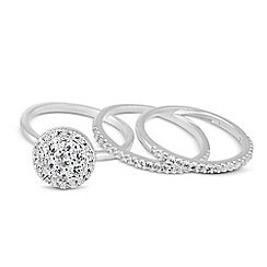 Simply Silver - Sterling silver cubic zirconia stacker ring set