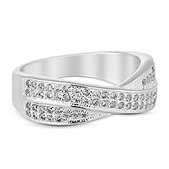 Simply Silver - Sterling silver cubic zirconia criss cross ring