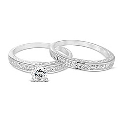 Simply Silver - Sterling silver cubic zirconia duo band ring set