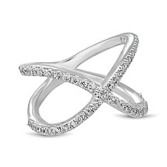 Simply Silver - Cubic zirconia embellished crossover ring