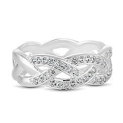 Simply Silver - Sterling silver cubic zirconia interwoven ring