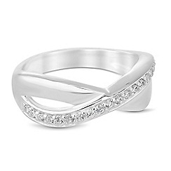 Simply Silver - Sterling silver cubic zirconia crossover ring