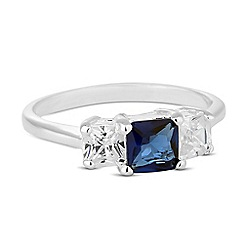 Simply Silver - Sterling silver blue cubic zirconia triple square ring