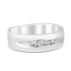 Simply Silver - Sterling silver cubic zirconia encased band ring
