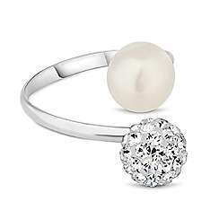 Simply Silver - Sterling silver crystal and pearl ball cuff ring