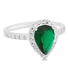 Simply Silver - Sterling silver green cubic zirconia peardrop ring