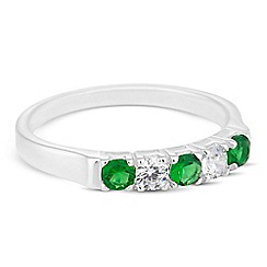 Simply Silver - Sterling silver green and clear cubic zirconia ring