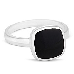 Simply Silver - Sterling silver onyx square ring