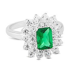 Simply Silver - Sterling silver green cubic zirconia cluster ring
