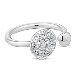 Simply Silver - Sterling silver polished ball and cubic zirconia embellished ring