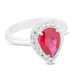 Simply Silver - Sterling silver red cubic zirconia peardrop ring