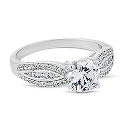 Simply Silver - Sterling silver round cubic zirconia embellished band ring