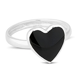 Simply Silver - Sterling silver onyx heart ring