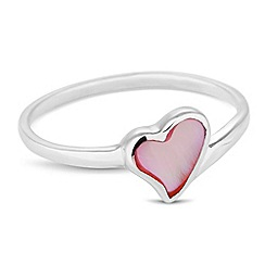 Simply Silver - Sterling silver pink mother of pearl heart ring