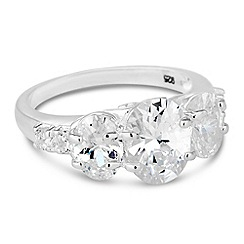 Simply Silver - Sterling silver triple oval cubic zirconia ring