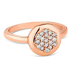 Simply Silver - Rose gold plated sterling silver embellished round ring