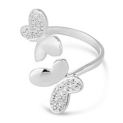 Simply Silver - Sterling silver cubic zirconia butterfly ring