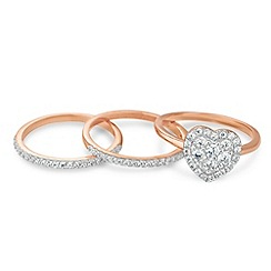 Simply Silver - Rose gold cubic zirconia heart stacker ring set
