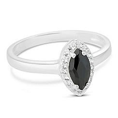 Simply Silver - Black cubic zirconia marquise ring