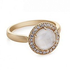 Simply Silver - Rose gold mother of pearl ring with pave surround