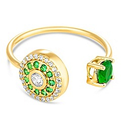 Simply Silver - Gold plated sterling silver green embellished disc ring