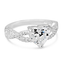 Simply Silver - Sterling silver cubic zirconia heart twist band ring