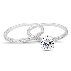 Simply Silver - Sterling silver cubic zirconia engagement ring set